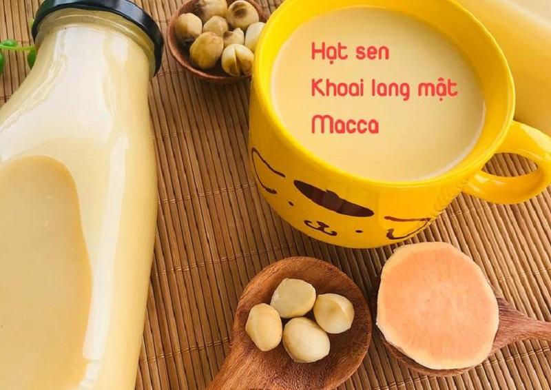 Sữa hạt sen cho bé cùng khoai lang mật