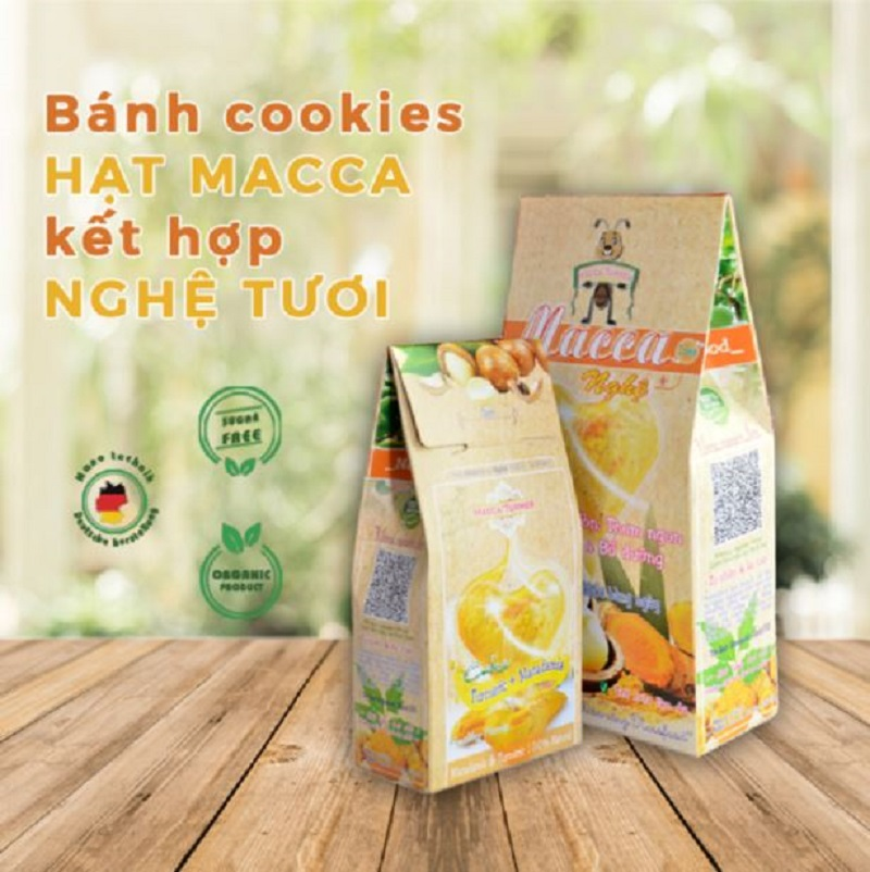 Bánh Cookies hạt Macca kết hợp với Nghệ tươi