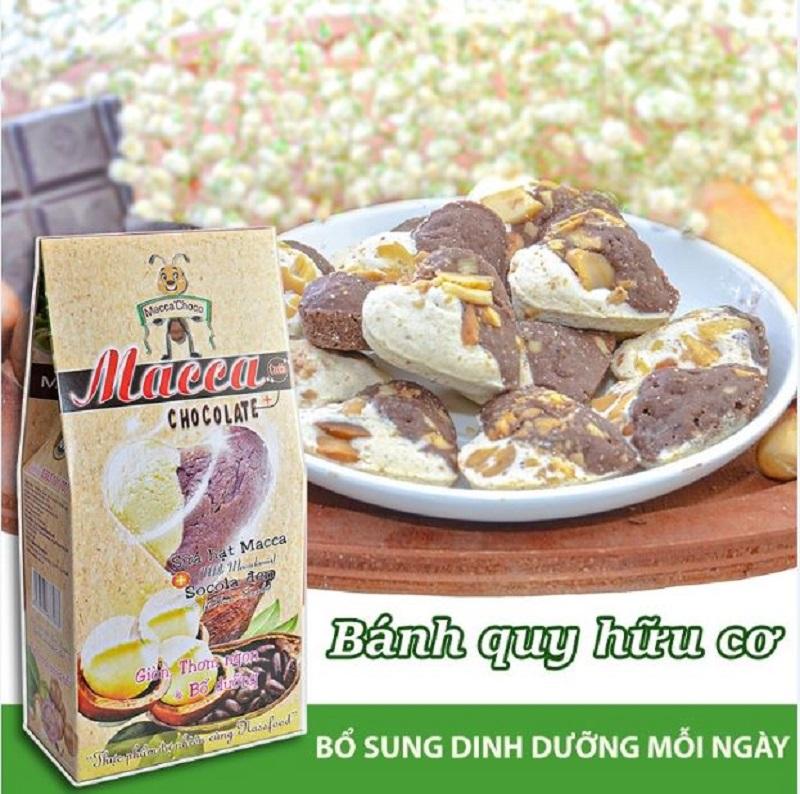 Bánh Macca choco là sự kết hợp tuyệt vời giữa nữ hoàng hạt dinh dưỡng macca và tinh chất cacao hữu cơ
