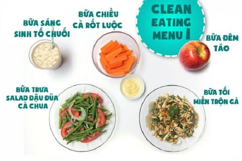 Thực đơn eat clean đơn giản ngày thứ 1
